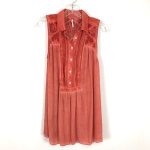 Free People coral swing sleeveless tunic top